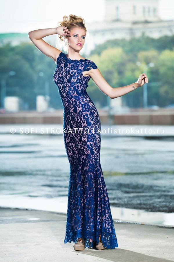 5f5df930a11 Платье длинное из синего кружева